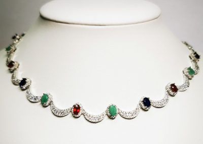 Lot-186 sterling ruby,sapphire, emeralds (4)
